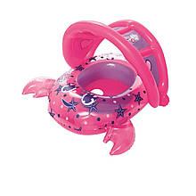 Надувная лодочка Bestway 34109 «Крабик», с трусиками, навесом, 86 х 66 см, розовый
