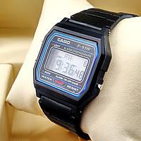 Легендарные мужские кварцевые (электронные) наручные часы Casio (касио) F-91W Old School Design, черного цвета