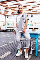 Современный женский костюм Больших Размеров, арт 401, цвет серый / серого цвета
