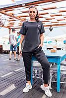 Современный женский костюм Больших Размеров, арт 401, цвет чёрный / чёрного цвета