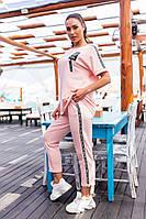 Современный женский костюм Больших Размеров, арт 401, цвет розовая пудра / пудровогоцвета
