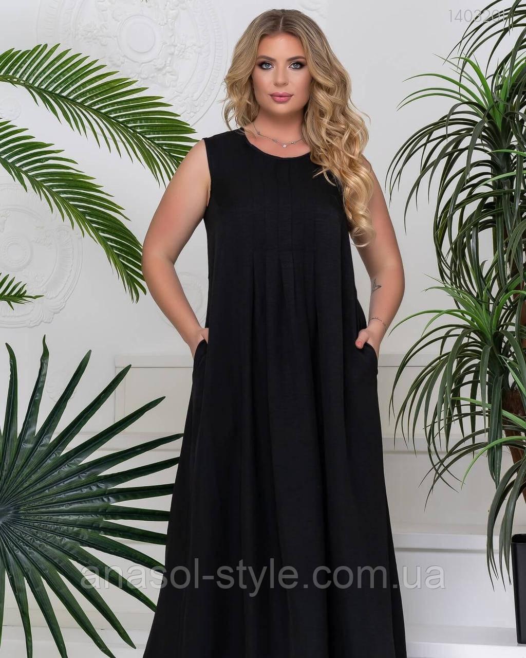 Длинное летнее платье Балларат из льняной ткани для пышных женщин черный