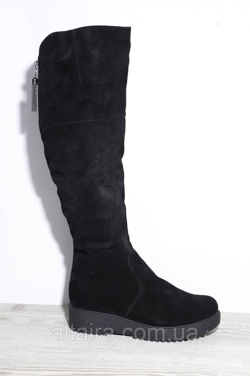 Жіночі зимові чорні чоботи, ботфорти з натуральної замші на платформі, товстій підошві. Розміри 39-41.