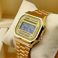 Кварцевые (электронные) наручные часы Casio A168 Old School золотого цвета AAA копия AAA copy High Copy