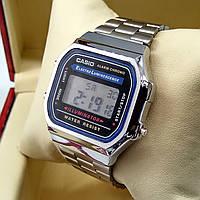 Кварцевые (электронные) наручные часы Casio A168 Old School серебряного цвета AAA копия AAA copy High Copy
