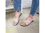 Шлепанцы шлепки Гермес натуральная кожа пудра на низком ходу 36, 38 р. (2215-1), фото 2
