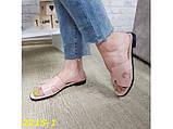 Шлепанцы шлепки Гермес натуральная кожа пудра на низком ходу 36, 38 р. (2215-1), фото 7