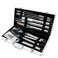 🔝 Подарочный набор инструментов в кейсе для барбекю (гриля): щипцы, вилка, шампура. BBQ 10 | 🎁%🚚