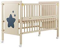 624467 Кровать Babyroom Звездочка, откидной бок, колеса  бук слоновая кость, фото 1