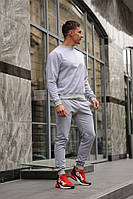 Серый мужской спортивный костюм - свитшот и штаны (весна-осень), фото 1