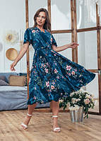 Женское модное летнее платье Мия Marca Moderna синее с цветочным принтом