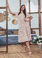 Женское модное летнее платье Мия Marca Moderna светло-розовое с цветочным принтом