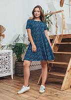 Женское летнее платье Селин Marca Moderna синее с цветочным принтом