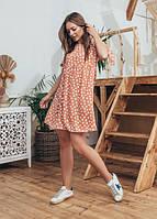 Женское модное летнее платье Чили Marca Moderna персиковое в горошек