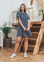 Женское модное летнее платье Чили Marca Moderna синее в горошек