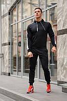Черный мужской спортивный костюм с белыми лампасами (весна-осень), фото 1