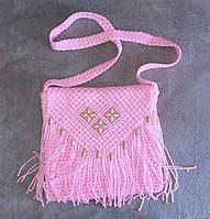 Дизайнерская текстильная женская сумка через плечо розовая