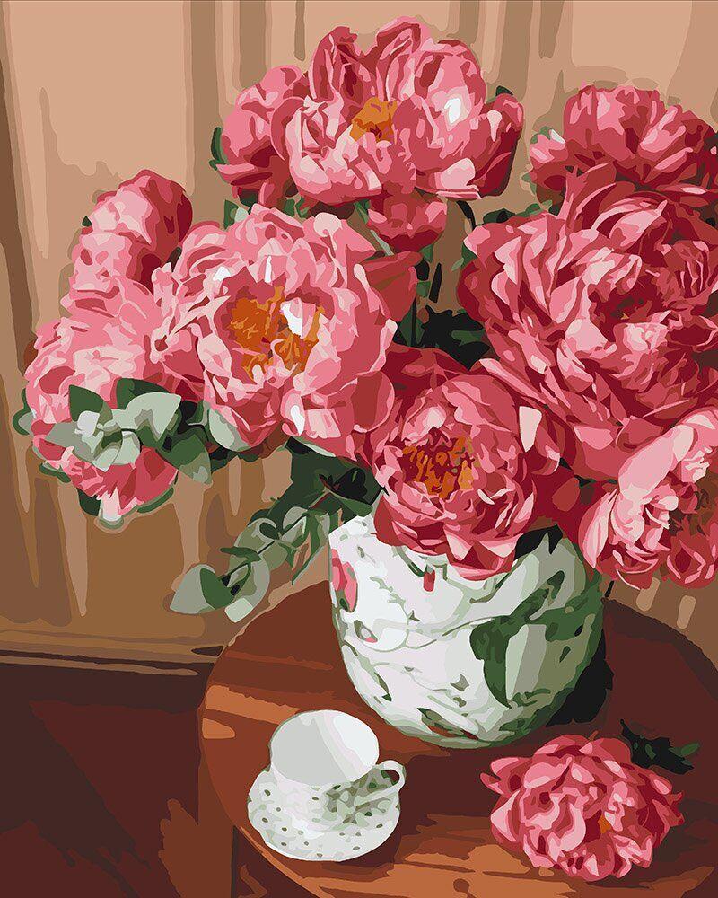 KH3048 Раскраска- картина по номерам Чай и букет пионов, Без коробки