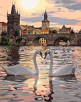 KH4135 Раскраска- картина по номерам Романтическая Прага, Без коробки