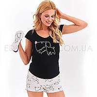Летняя пижама с короткими шортами Taro Eva, Черный, M