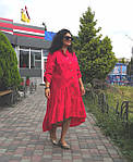 Платье красное хлопок, оверсайз Бохо. 48-56, фото 5