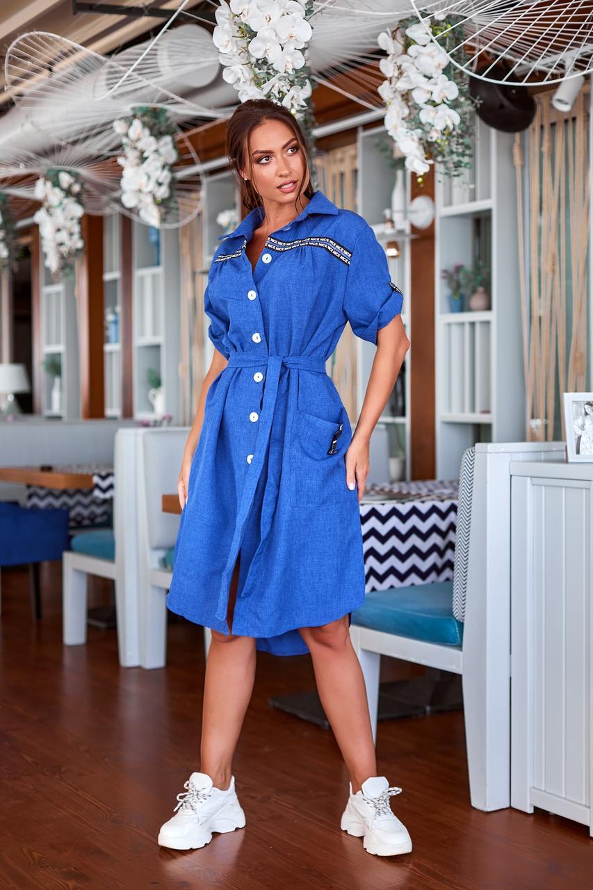 Платье рубашка с поясом на лето льняное 48-62