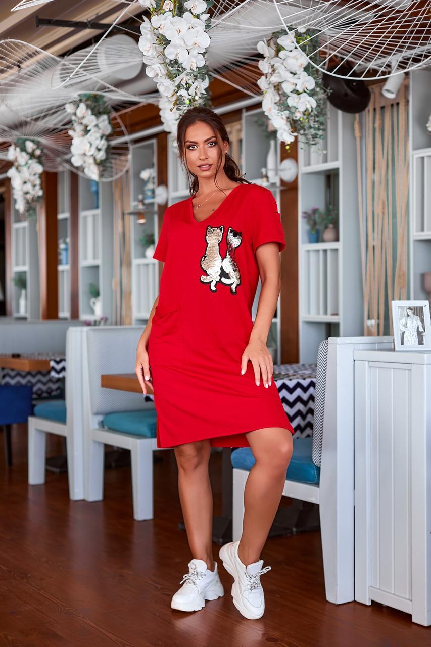 Сукня туніка літня з коротким рукавом і розрізами на подолі, прикрашена паєтками