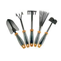 Набор огородный: две лопаты, культиватор, грабли веерные, сапка-мотыга, удлинитель Intertool FT-0020