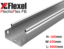 Лоток цельнометаллический, оцинкованный 100x100x3000x0,6 мм Plechoflex FB