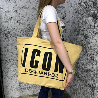 Beach Bag Dsquared2 Icon Cotton Yellow/Black