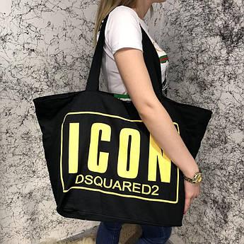 Beach Bag Dsquared2 Icon Cotton Black/Yellow