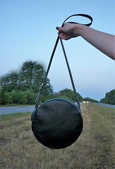 "Женская кожаная круглая сумка ""Circle"" черная"