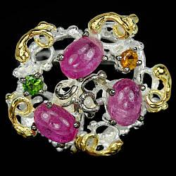 Серебряное кольцо с разноцветным турмалином, 2368КЦТ