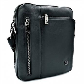 Мужская кожаная сумка H.T.Leather Чёрного цвета 5496-3