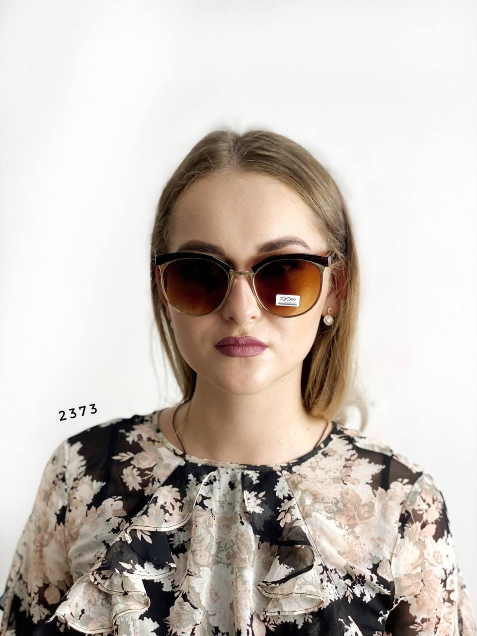 Модные очки с коричневыми линзами и коричневой оправой
