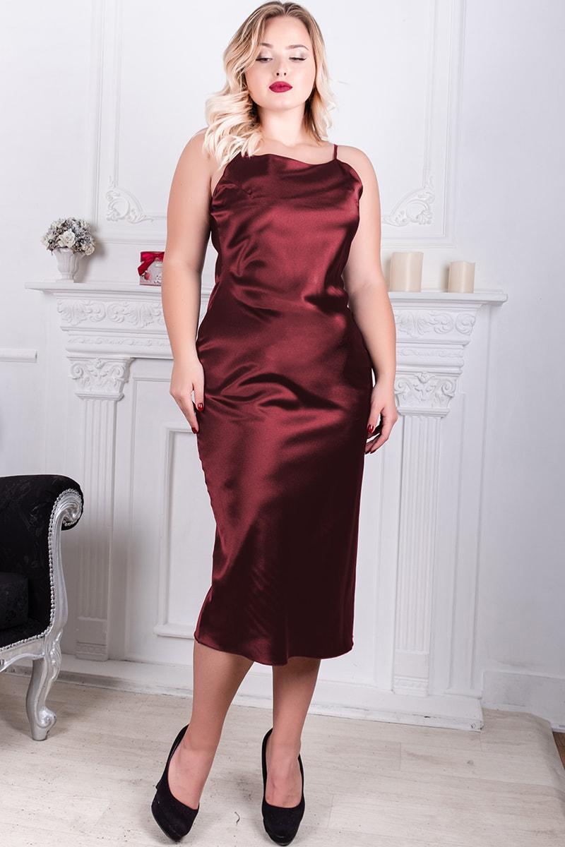 Бордовое платье на бретели Роксолана батальное