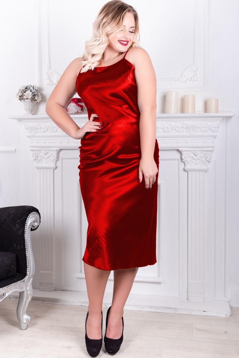 Сексуальное платье красного цвета Роксолана батальное