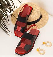 Кожаные летние босоножки черные с красной на плоской подошве, кожа размеры 36-40