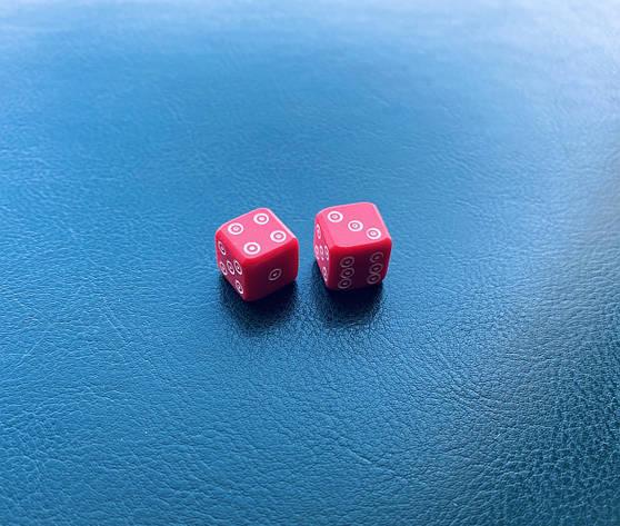 """Кости из бильярдного шара """"битка"""" красные, фото 2"""