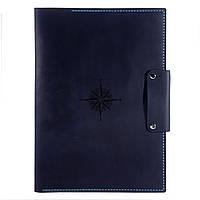 Кожаная папка для документов Anchor Stuff Подарок моряку А4 Темно-синяя КОД: as150102-5