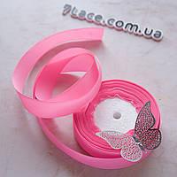 Репсовая лента 2,5 см / цвет розовый / ширина 2,5 см / бобина 23 м