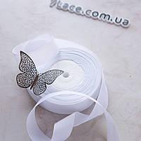 Репсовая лента 2,5 см / цвет белый / ширина 2,5 см / бобина 23 м