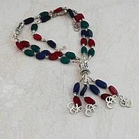 Серебряное ожерелье с натуральными камнями