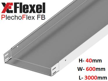 Лоток цельнометаллический, оцинкованный 600x40x3000x1.2 мм Plechoflex FB