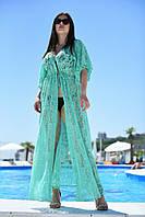 Батальная женская пляжная туника в пол из гипюра