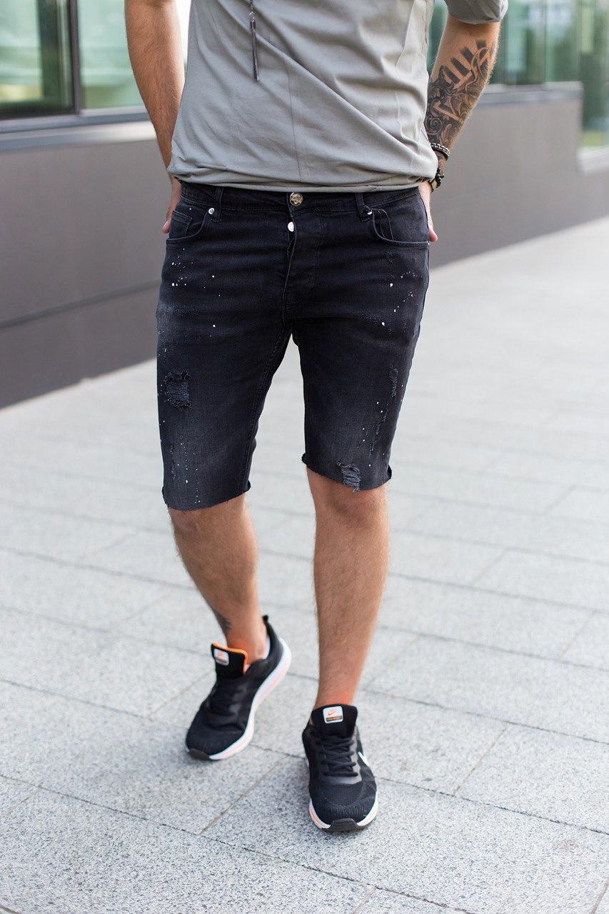 Чоловічі джинсові шорти з подряпинами чорні