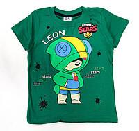 Детская футболка для мальчика бравл старс brawl stars Леон светло зелёная 5-6 лет