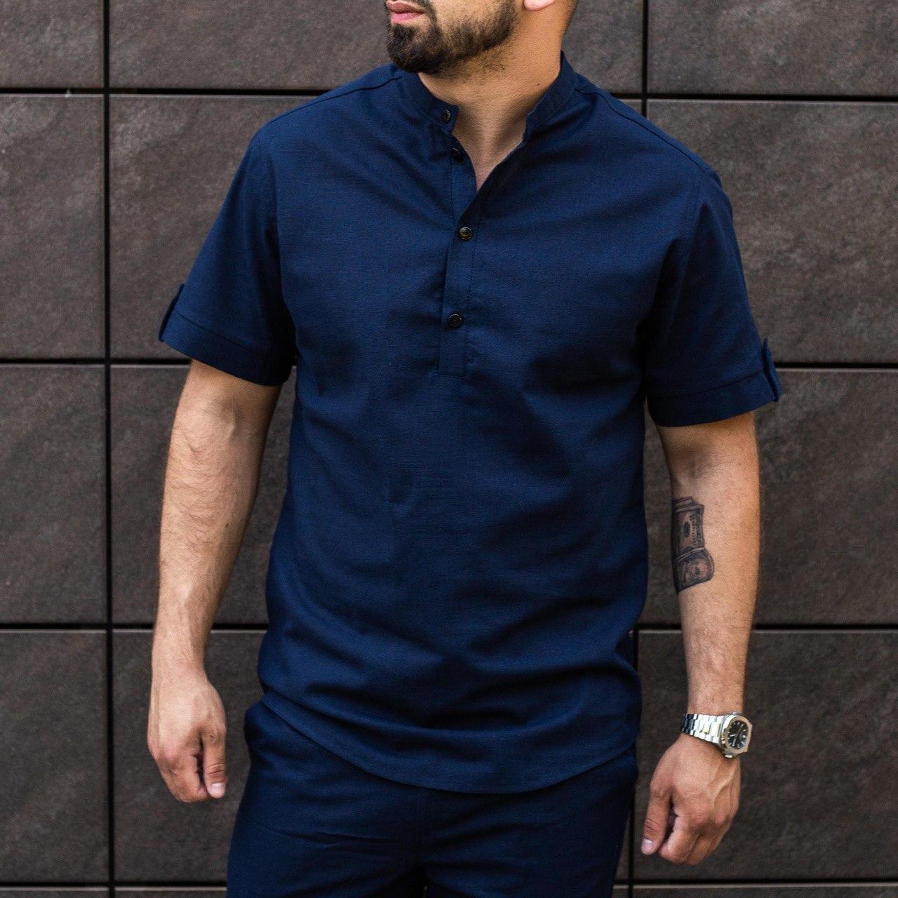 Чоловіча сорочка льон темно-синя на короткий рукав