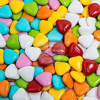 Драже из молочного шоколада - Сердца разноцветные Ø15 мм - 200 г