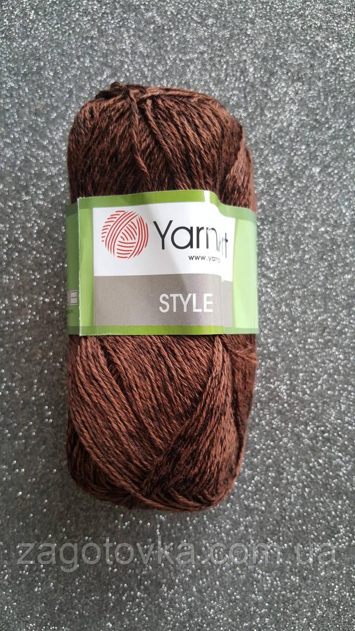 Пряжа хлопок Yarn Art Style №672 Шоколад